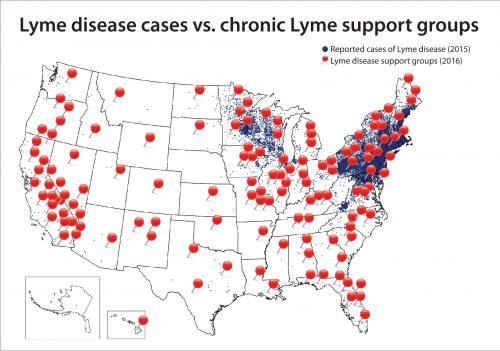 The different geography of Lyme vs chronic Lyme