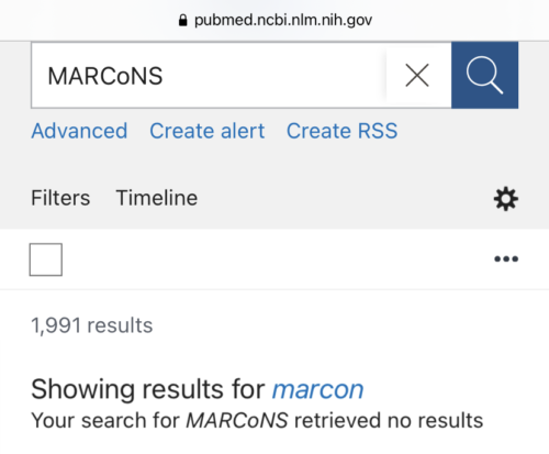 Pubmed search for MARCoNS. Your search for MARCoNS retrieved no results. Showing results for MARCoNS. Showing results for marcon. 1991 results