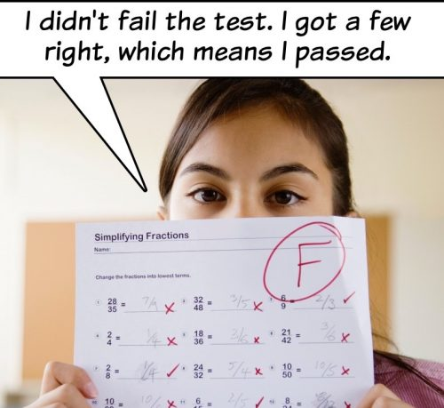 Photo of girl holding a school test with failing grade. Captioned: I didn't fail the test. I got a few right, which means I passed.