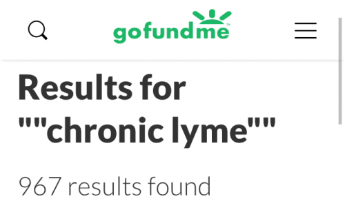 "GoFundMe search: 967 results for ""chronic Lyme"", February 2, 2019"