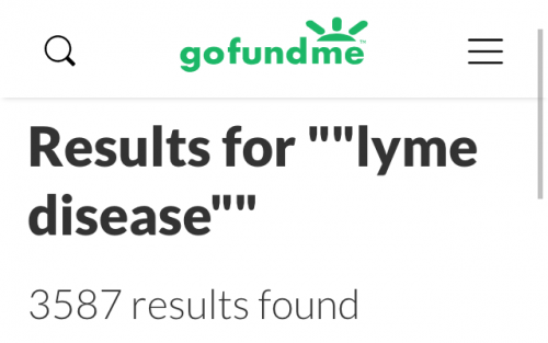 "GoFundMe search: 3587 results for ""Lyme disease"", February 2, 2019"