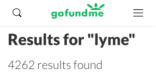 "GoFundMe search: 4262 results for ""Lyme"", February 2, 2019"