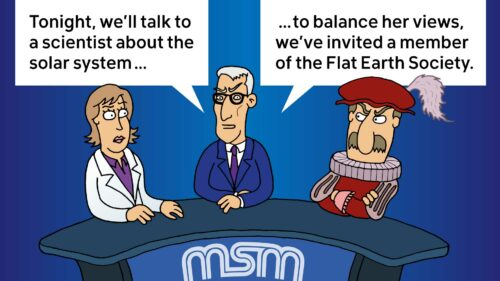 """A male reporter is interviewing a woman with a lab coat and a man wearing renaissance-era clothing. The reporter says """"Tonight, we'll be talking to a scientist about the solar system. To balance her views, we've invited a member of the flat earth society."""""""